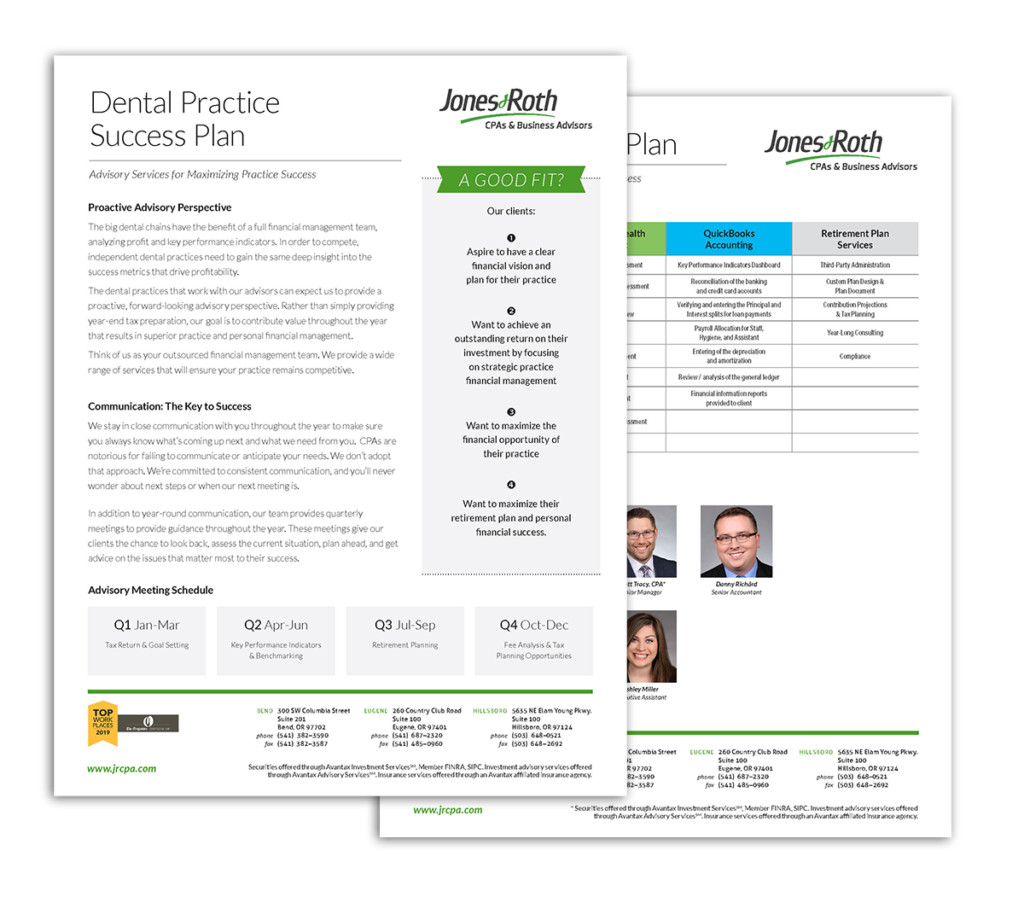 Jones and Roth Dental Success Plan thumbnails