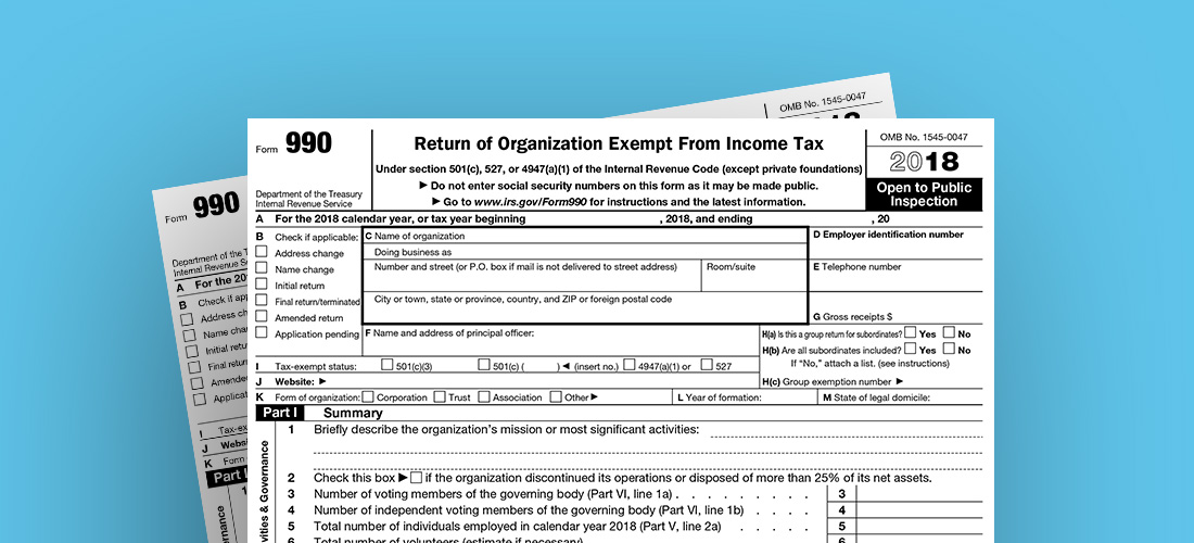 Photo of the Form 990 for year 2018