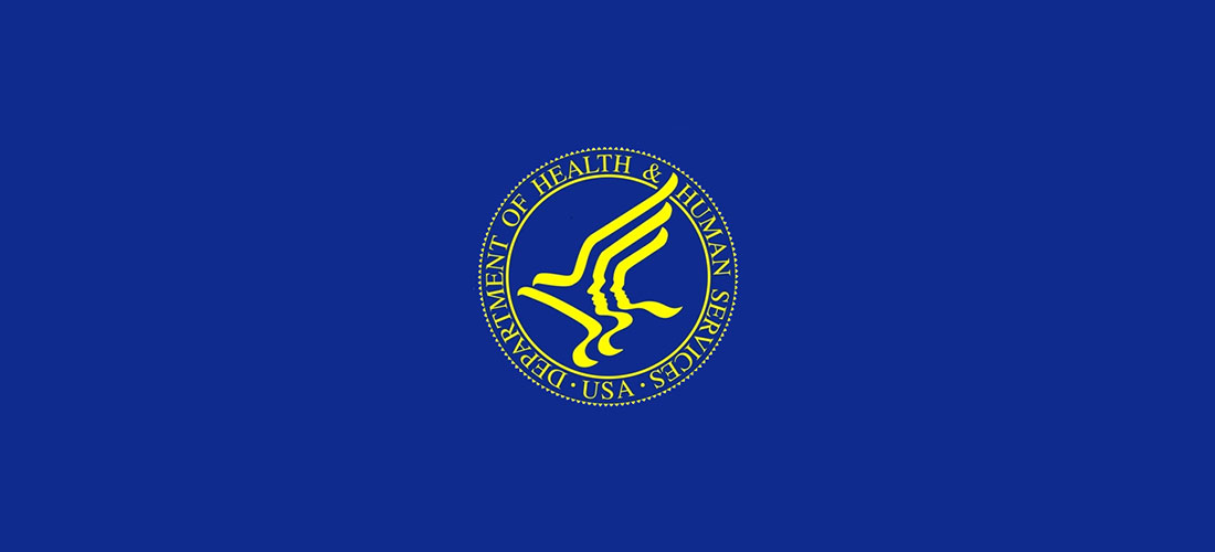 Gold logo of the Department of Health & Human Services on blue background