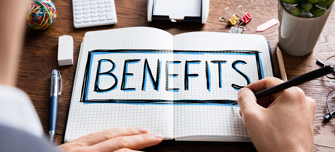 "Creative image of the word ""Benefits"""