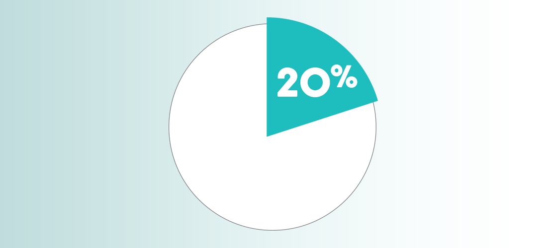 Graphic showing 20% on a pie chart