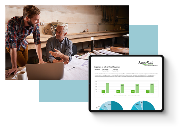 Image of a family business with a financial dashboard overlay