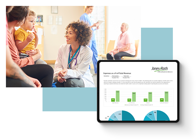 Image of a doctor with a family, and an overlay of a financial dashboard