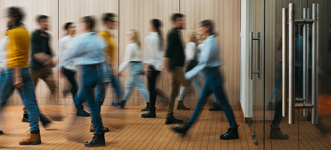 photo of employees walking into business