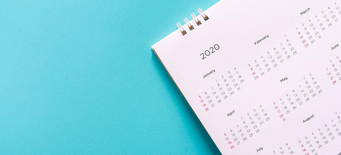 Photo of 2020 planning calendar