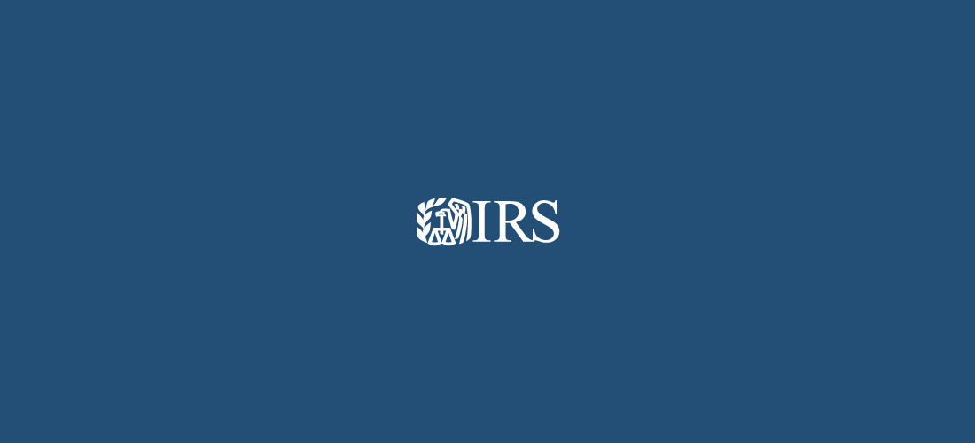 IRS Logo on blue background
