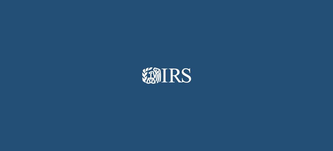 IRS Logo on blue background