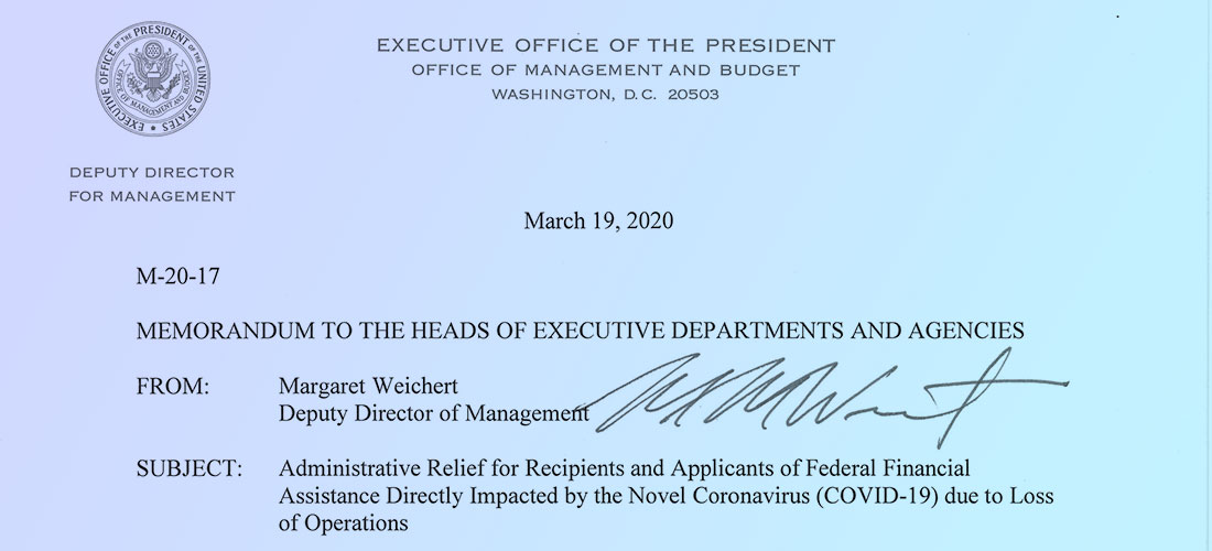 Cropped image of the first page of the official OMB memo issued on March 19, 2020