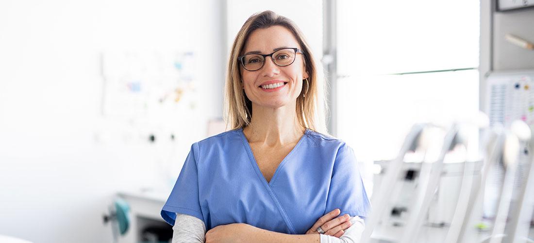 photo of dentist at work in dental practice