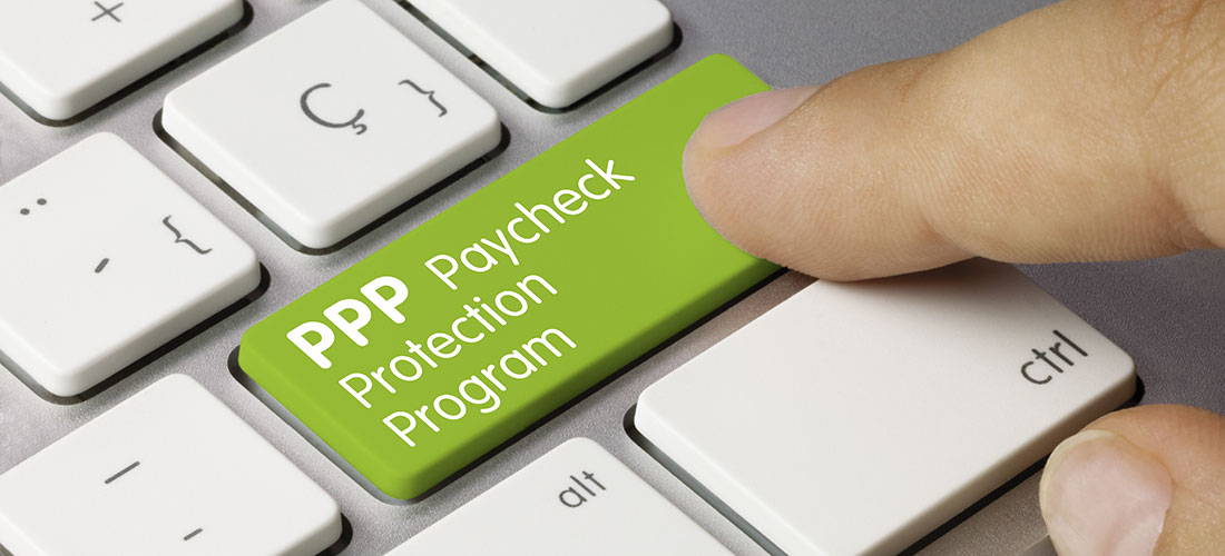 """Image of a computer keyboard with a key that reads """"PPP Paycheck Protection Program"""""""