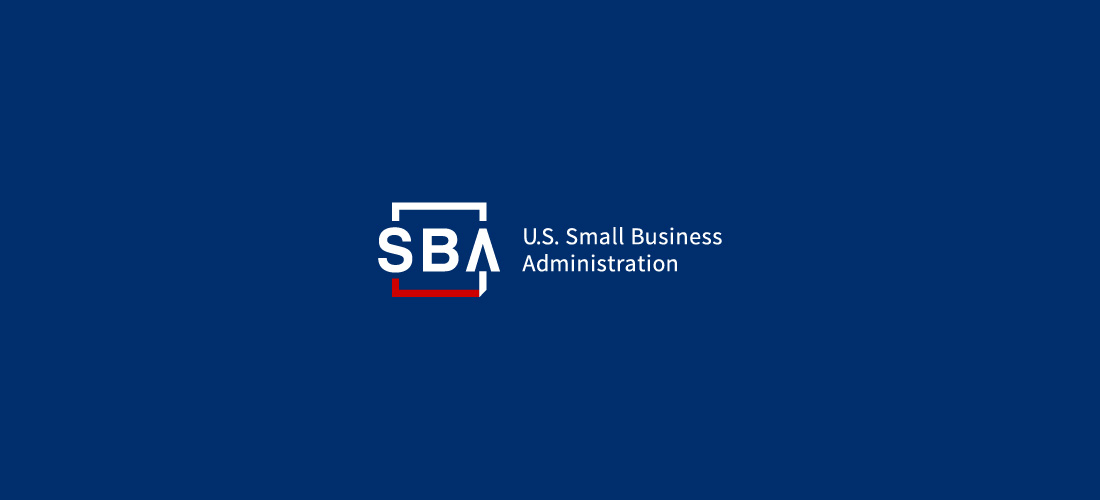 The Small Business Administration logo on a blue background