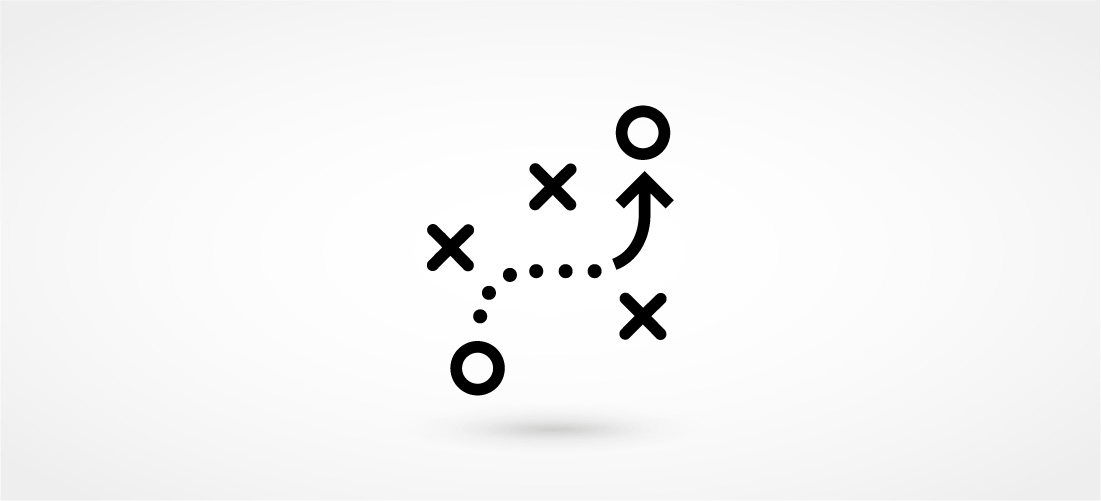 Graphic of X's and O's denoting a gameplan