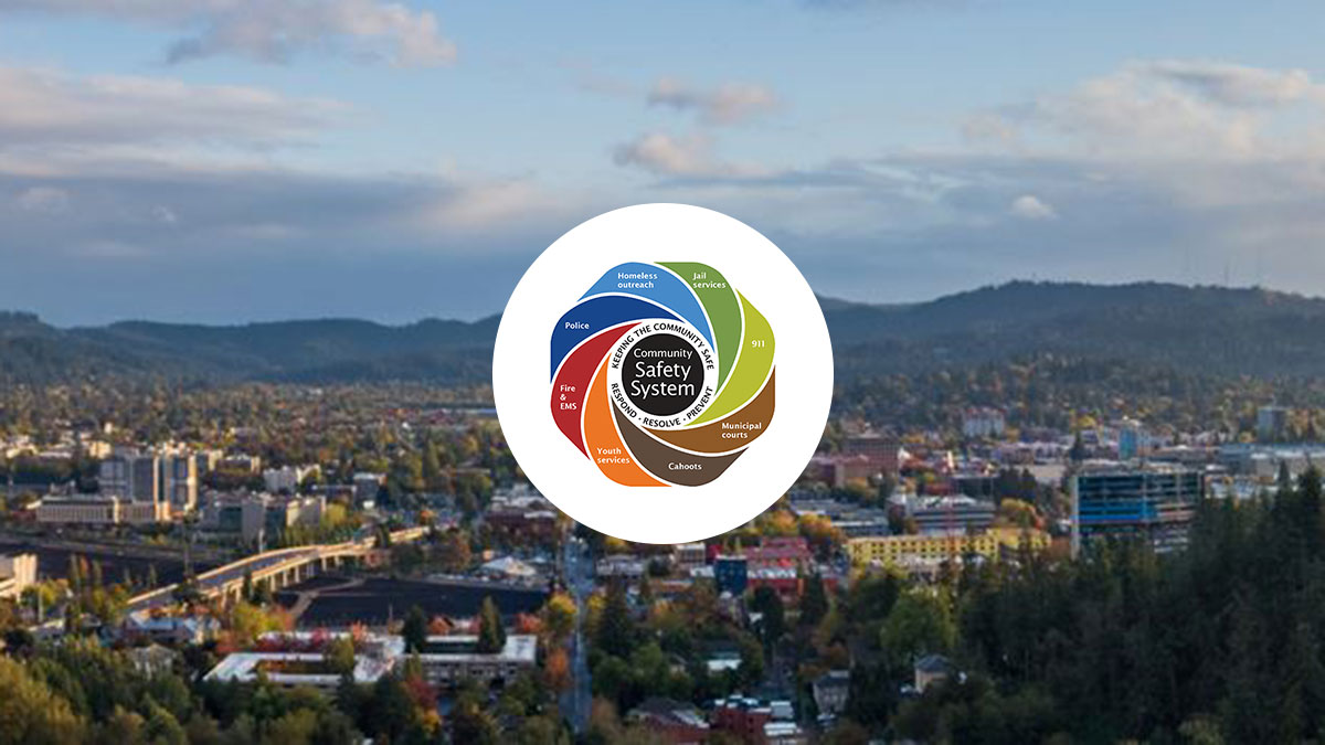 The City of Eugene Community Safety Payroll Tax graphic overlayed on top of a landscape photo of the city of Eugene