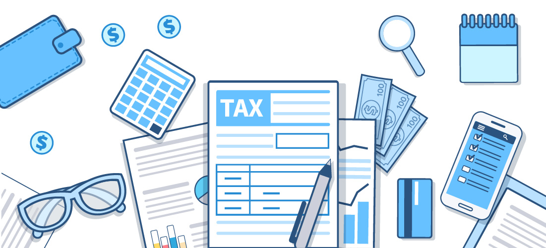 Illustration of tax related objects such as tax forms, calculators, calendars, etc.