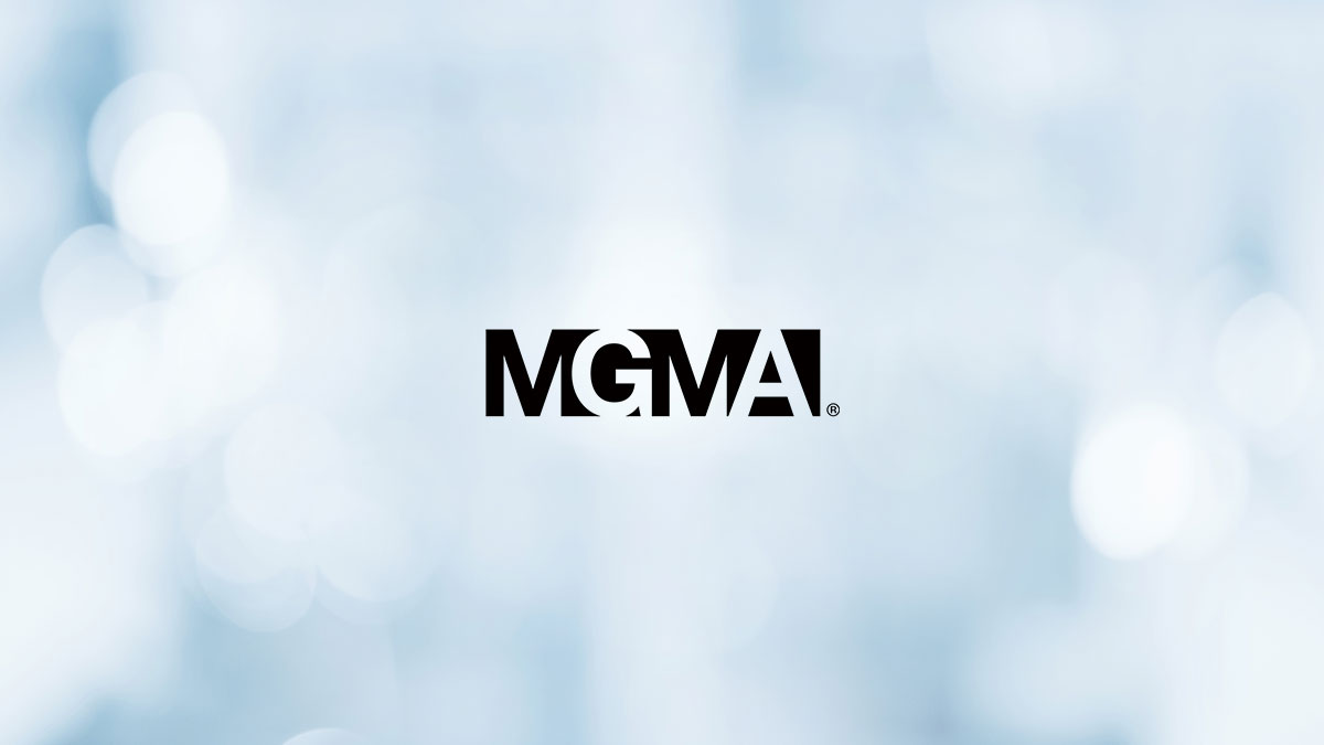 Blue background with MGMA logo