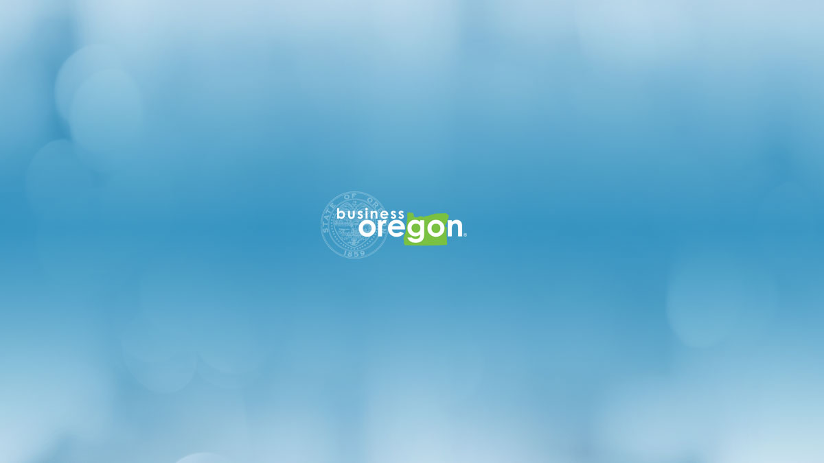 Business Oregon logo on blue abstract background
