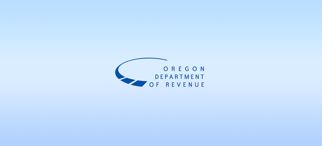 The Oregon Department of Revenue logo on a blue background