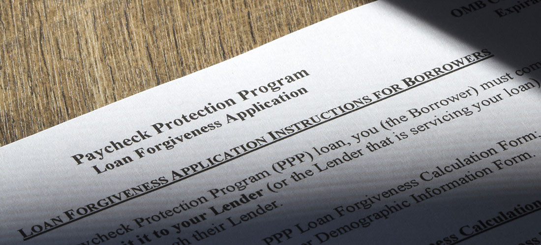 Photo of PPP Loan Forgiveness application form