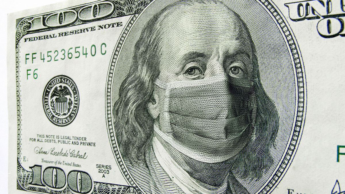 Image of 100 dollar bill with a masked Benjamin Franklin